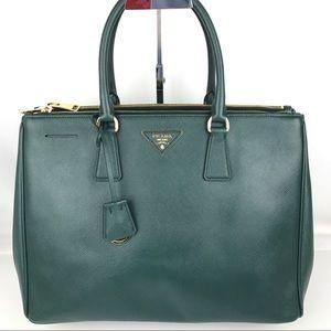 New Prada Galleria Lux Emerald Green Large Tote
